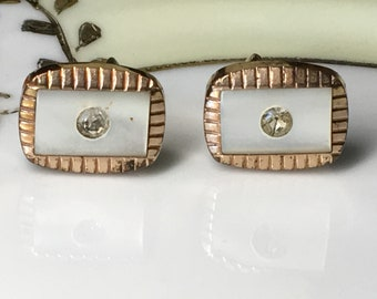 Antique 1881 Howard & Co Genuine Mother of Pearl Cuff Links|Gift Boxed
