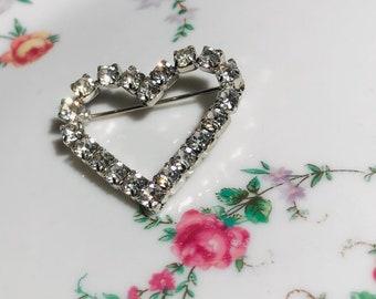 Rhinestone Heart Brooch/Gift Boxed