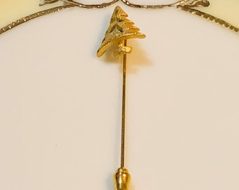 Stick Pin Christmas Tree/Gold brushed  Gift Boxed