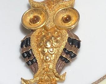 Vintage JJ Jonette Owl Pendant Gold toned|Gift Boxed