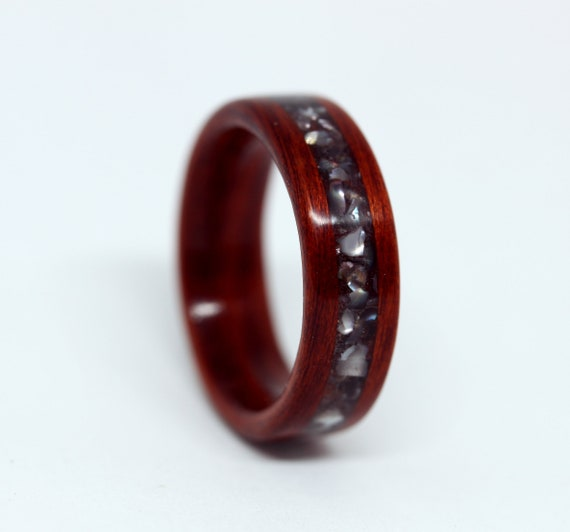 Two Band Wood and Stone Ring Wooden Ring Handmade From Walnut Wood And Red Color Stone