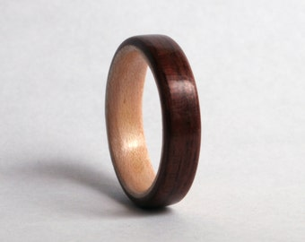 Black Walnut Wood Ring with Maple Liner // Wooden Wedding Ring // Wood Wedding Band