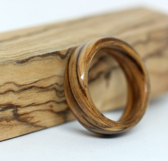 Mens Wood Wedding Band Olive Wood Ring Bentwood Ring Wooden Etsy