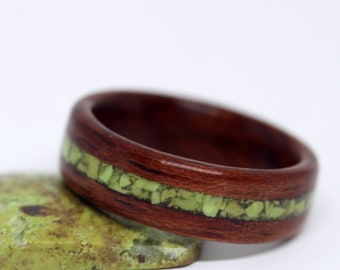 Wooden Wedding Ring, Wood Wedding Band, Wooden Ring with Stone Inlay - Custom (Pictured: Bubinga Wood with Gaspeite Inlay)