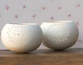 Ceramic candle holder, dandelion design. porcelain tea light Delight Collection - N.5 design by Wapa Studio.