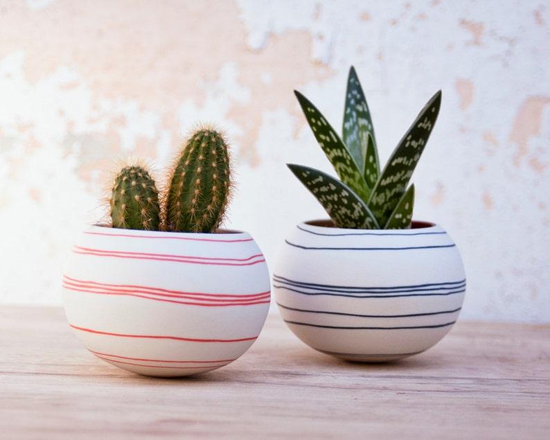 ceramic cactus planter orange stripes. porcelain mini image 0