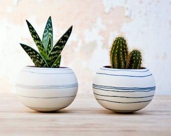 kleurrijke porseleinen planter licht grijze strepen. Keramische plantenbak voor cactus, succulente, air installatie. Mini pot voor planten Crafted door Wapa Studio.
