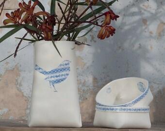 Reserved for sarahlstuart. P-Sack - Porcelain Vase with a Blue Bird (medium) . Design by Wapa Studio.