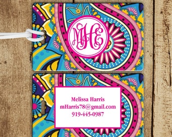 Monogram luggage Tag, Pink and Blue Paisley Luggage Tag, Lilly Luggage Tag, Personalized Gift, Gifts For Traveler, Preppy Bag Tag