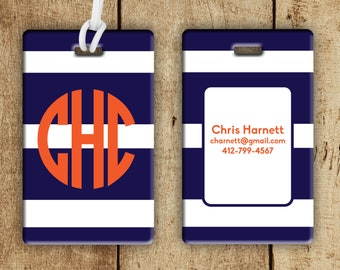 Monogram striped luggage tag, personalized bag tags, preppy backpack tag, preppy gifts, personalized gift, unisex luggage tag