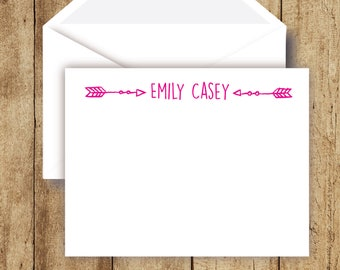 Set of 14 Notecards Navy and Fuchsia Notecards Custom Notecards Notecards 38 Colors-Monogrammed Notecards with Envelopes