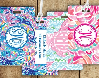 Monogram luggage Tag, Floral Luggage Tag, Custom Bag Tag, Personalized Gift, Gifts For Traveler, Preppy Bag Tag, 30 patterns