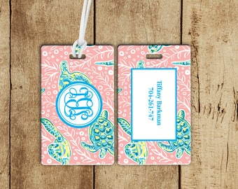 Preppy Turtle Luggage Tag, Monogrammed bag tag, preppy luggage tag, personalized bag tag, personalized gift, gifts for the traveler