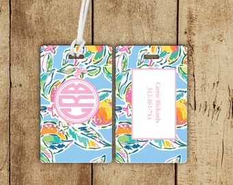 Pretty Peach Monogrammed Luggage Tag, Monogrammed bag tag, preppy tag, personalized bag tag, personalized gift, gifts for the traveler