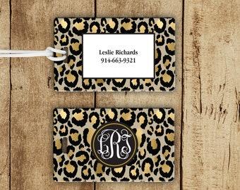 Monogram Animal Print Luggage Tag, Monogram Luggage Tag, Personalized Cheetah Print Luggage Tag, Preppy Luggage Tag, Personalized Gift