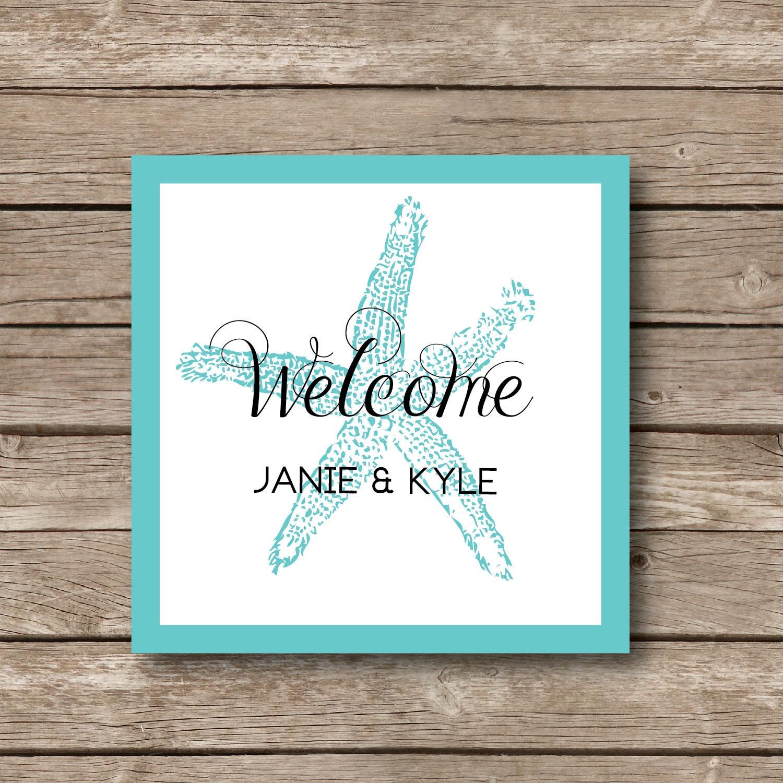 Personalized Wedding Favor Stickers , Starfish stickers, Beach ...