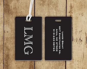 Monogram Block Letter Luggage Tag - Personalized Unisex Bag Tag - Double Sided Custom Luggage Tag