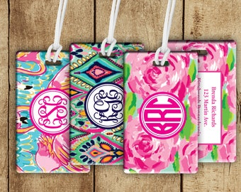 Personalized Luggage tag, Lilly inspired bag tag, gift for traveler, personalized gifts, gifts for her, gym bag tag, backpack tag