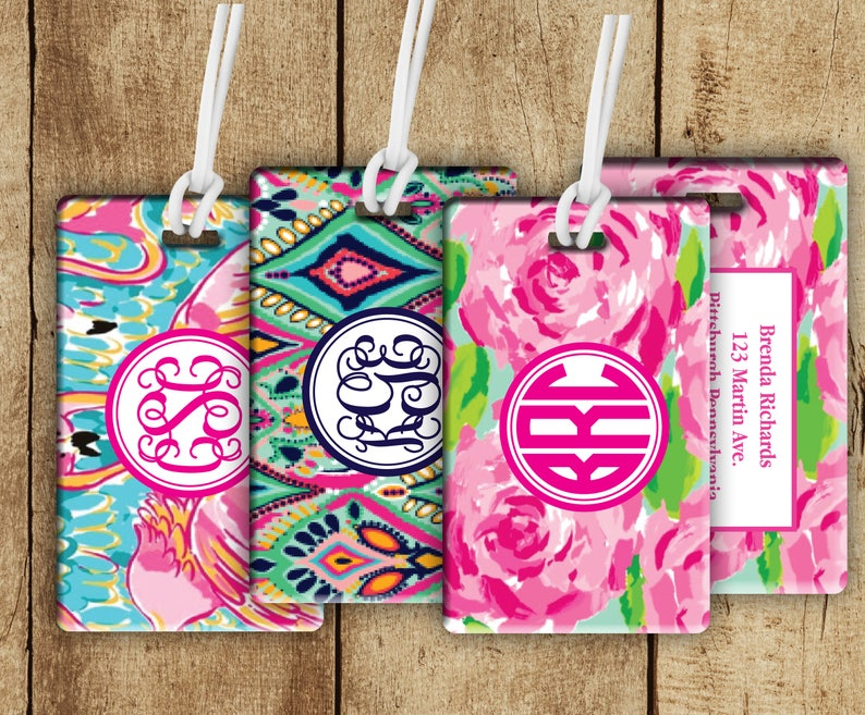 Monogram Floral Bag Tag Personalized backpack Tag  image 0