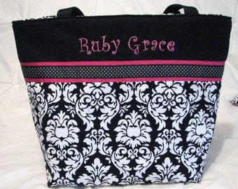 Personalized Diaper Bag in Dandy Damask Black / White . Weekender/XL size great bridesmaid gift girl diaper bag monogrammed FREE