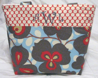 Personalized Tote Diaper Bag . Amy Butler Morning Glory . Regular size . Monogramming Included . teacher tote . baby shower gift
