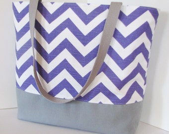 Chevron Tote Bag . Chevron beach bag . Purple White and gray . standard size . great bridesmaid gifts   MONOGRAMMING available