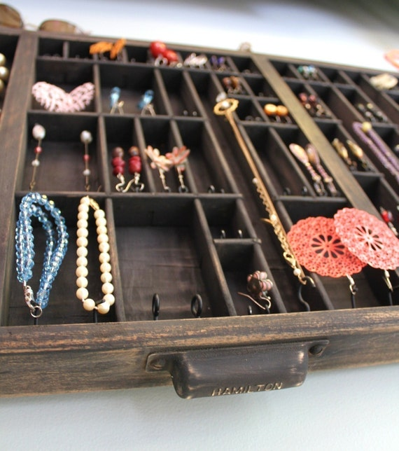 Jewelry Display repurposed from vintage typeset tray