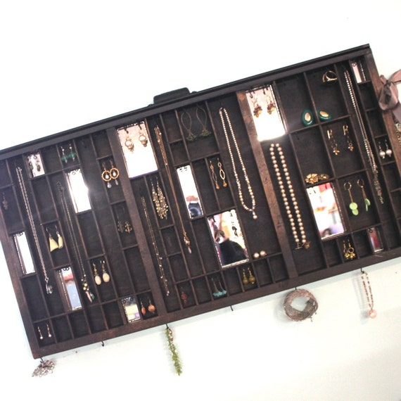 Mirrored Printer Drawer Jewelry Display
