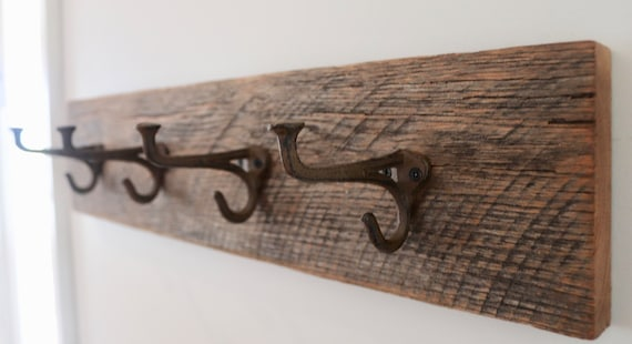 "24"" Reclaimed Rustic Barn Wood Coat Rack"