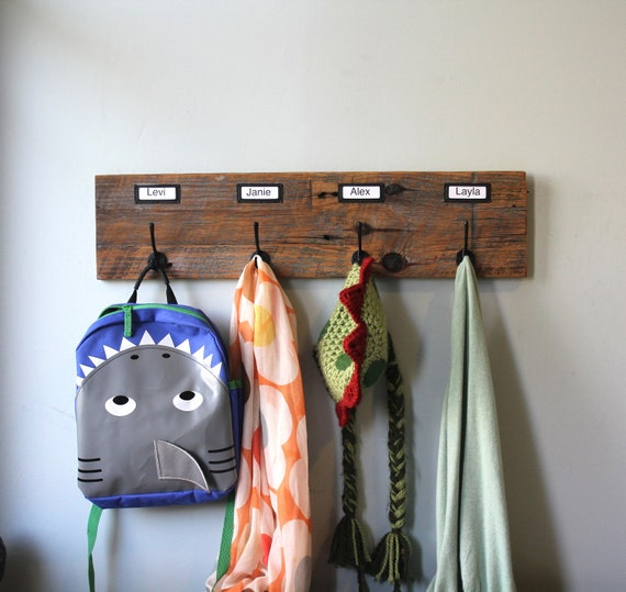 Barn Wood Coat Rack Labeled Organizer