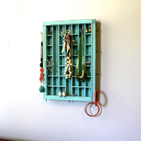 Aqua Distressed Jewelry display by Bluebirdheaven