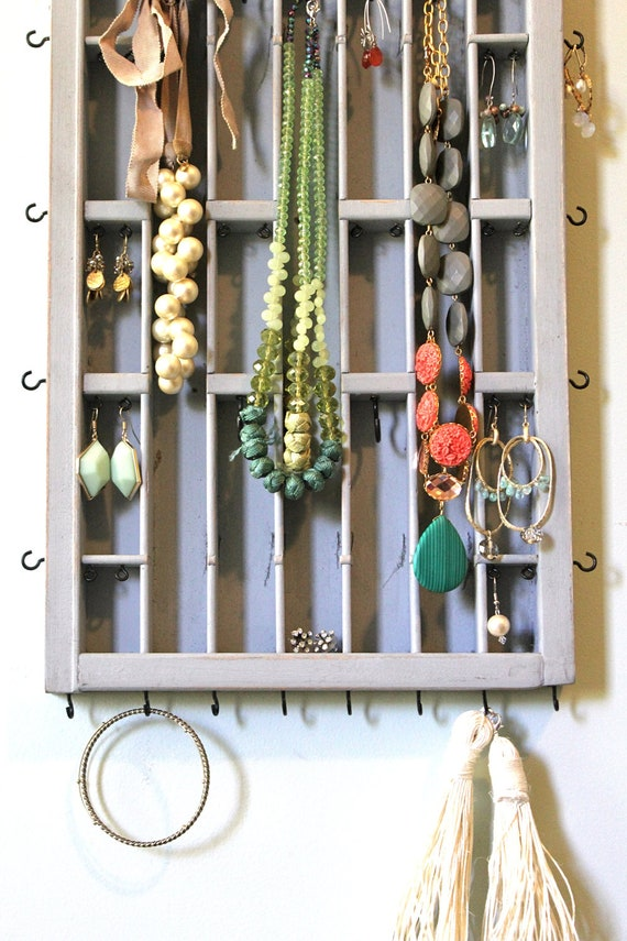 Gray Distressed Jewelry display by Bluebirdheaven