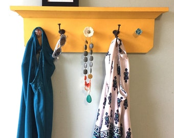 SALE Yellow distressed Coat Rack Shelf SALE