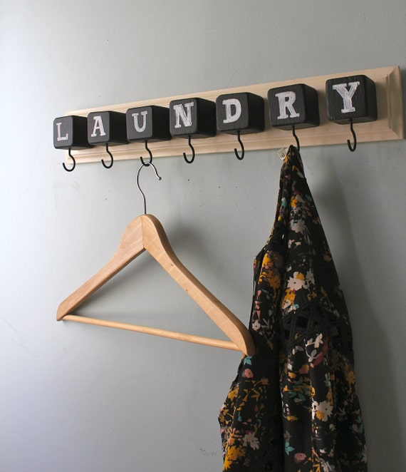 Chalk Block hook Rack laundry or mud room