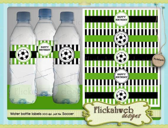 soccer water bottle labels printable digital instant download sports