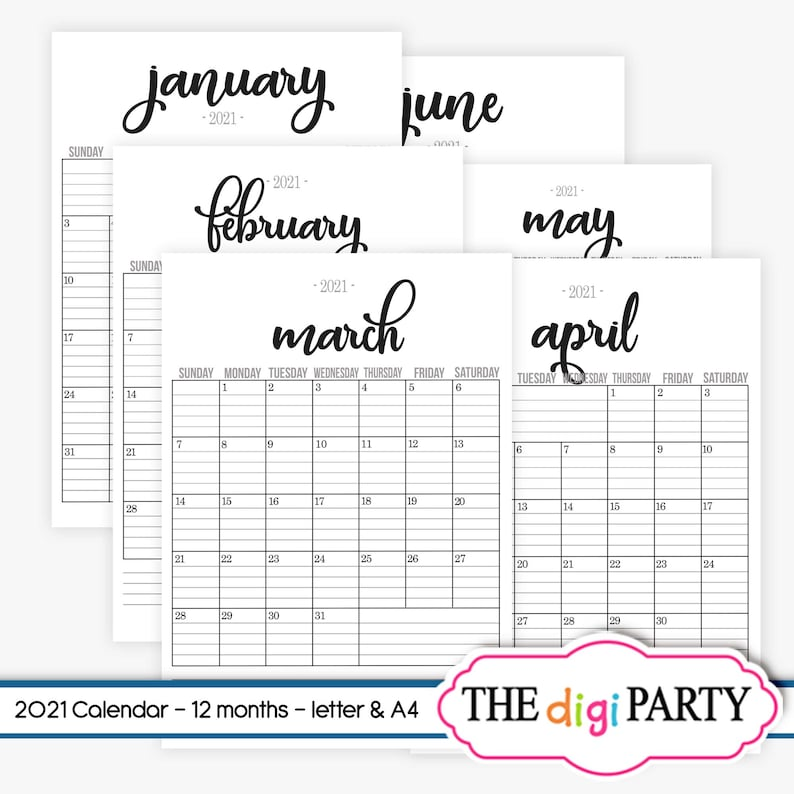 2021 Lined Monthly Calendars full year PDF Printable | Etsy
