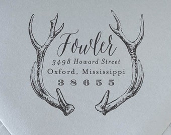 Custom Return Address Stamp | Personalized Stamp | Calligraphy Stamp | Rubber Stamp | Wooden Stamp | Antlers #3