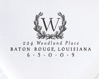 Return Address Stamp | Personalized Stamp | Housewarming Gift | Monogram Stamp | Custom Wedding Stamp | Wooden Stamp #2