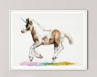 UNICORN Art Print, UNICORN watercolor painting print, UNICORN Art, Wall Art, home decor, Redstreake