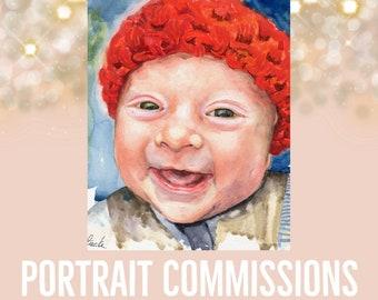 Original Custom Commission WATERCOLOR portrait painting by Redstreake