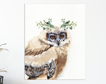 Mythical Woodland baby owl watercolor painting print, Wall Art, home decor, Redstreake