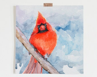 Cardinal bird Art Print, watercolor painting print, Art, Wall Art, home decor, Redstreake