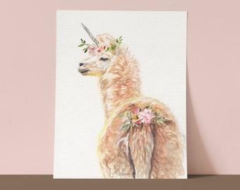 Alpaca Llama UNICORN Art Print, UNICORN watercolor painting print, UNICORN Art, Wall Art, home decor, Redstreake