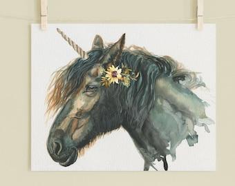 Black Mare UNICORN Art Print, UNICORN watercolor painting print, UNICORN Art, Wall Art, home decor, Redstreake
