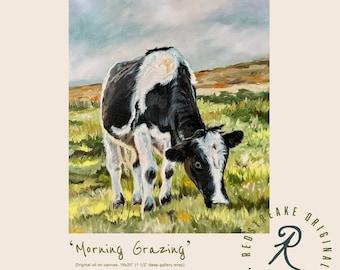 ORIGINAL OIL PAINTING/Cow Grazing/Farmhouse/wall decor/ Redstreake