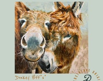 ORIGINAL OIL PAINTING/donkey best friends/mule/wall decor/ Redstreake