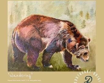 ORIGINAL OIL PAINTING/Bear/grizzly bear/wildlife/wall decor/ Redstreake