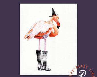 Flamingo Halloween, Wall Art, home decor, Redstreake