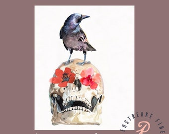 Raven, Skull with flowers, Halloween, Wall Art, home decor, Redstreake
