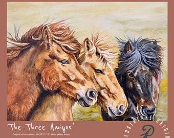 ORIGINAL OIL PAINTING/The Three Amigos/horses/wild pony/wall decor/ Redstreake